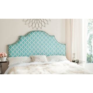 Safavieh Hallmar Blue/ White Upholstered Arched Headboard - Silver Nailhead (Queen)