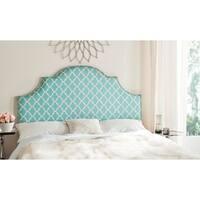Safavieh Hallmar Blue/ White Upholstered Arched Headboard - Silver Nailhead (Queen)