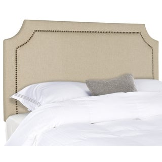 Safavieh Shayne Hemp Linen Upholstered Headboard - Brass Nailhead (Full)