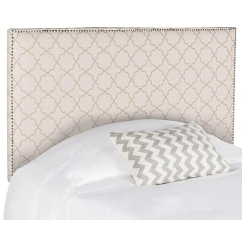 Safavieh Sydney Pale Pink/ Beige Upholstered Headboard - Silver Nailhead (Full)