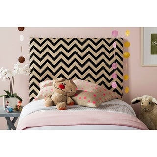 Safavieh Ziggy Black/ Off-white Upholstered Chevron Headboard (Twin)