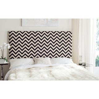 Safavieh Ziggy Black/ Off-white Upholstered Chevron Headboard (Full)