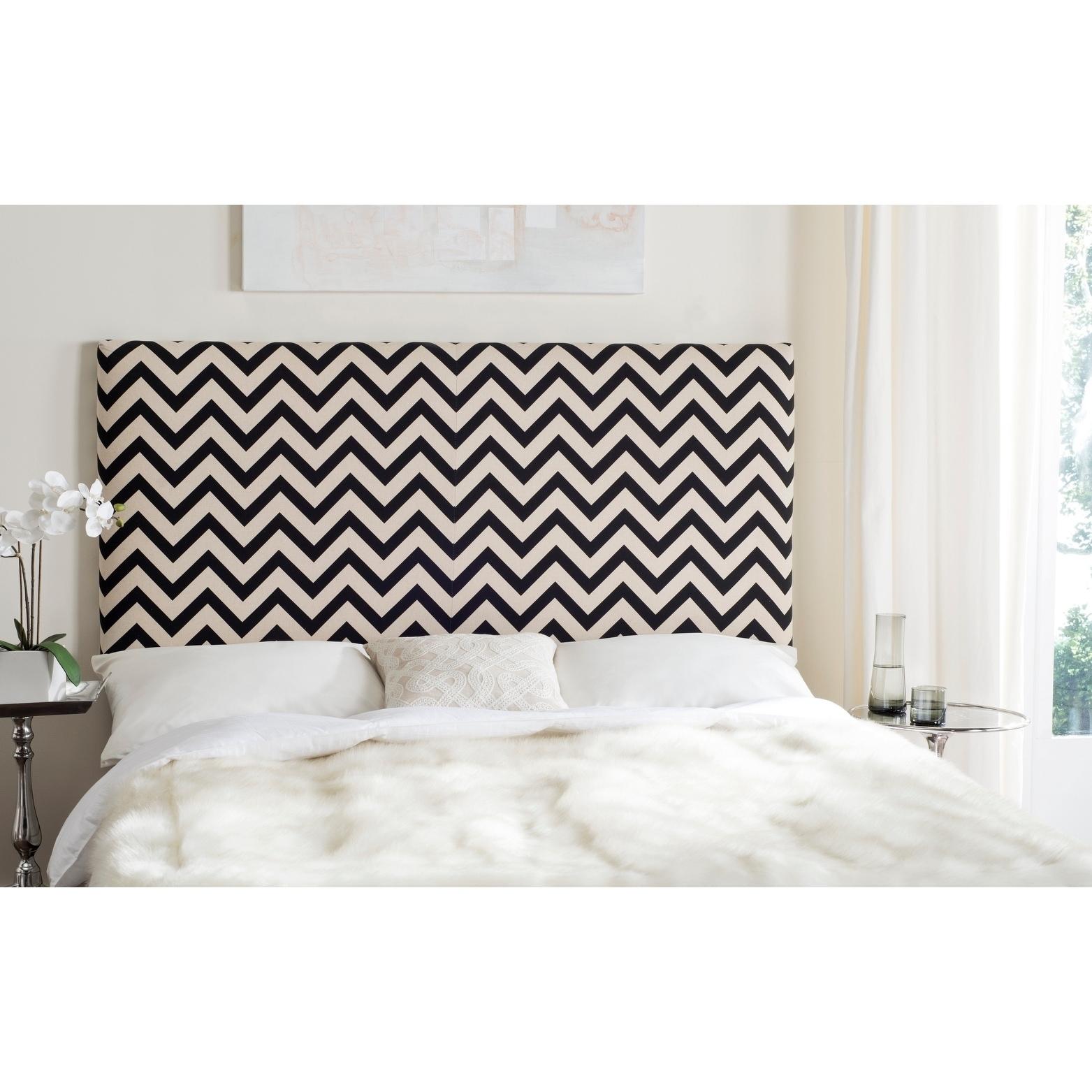 Shop Black Friday Deals On Safavieh Ziggy Black White Upholstered Chevron Headboard King Overstock 10329183