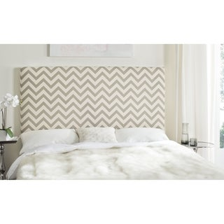 Safavieh Ziggy Grey/ White Upholstered Chevron Headboard (Full)