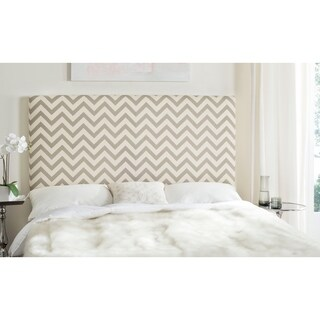 Safavieh Ziggy Grey/ White Upholstered Chevron Headboard (Queen)