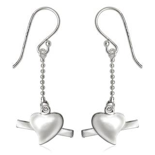 La Preciosa Sterling Silver Chain and Heart Dangle Earrings