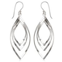 La Preciosa Sterling Silver Triple Marquise Dangle Earrings