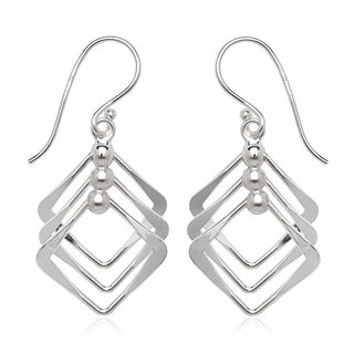 La Preciosa Sterling Silver Triple Square Dangle Earrings