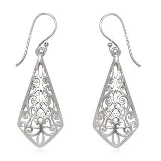 La Preciosa Sterling Silver Designed Dangle Earrings