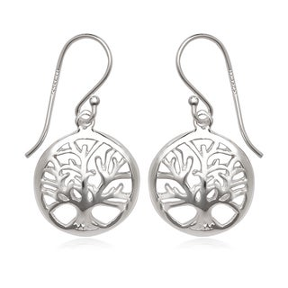 La Preciosa Sterling Silver Tree of Life Circle Earrings
