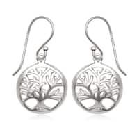 La Preciosa Sterling Silver Tree of Life Circle Earrings