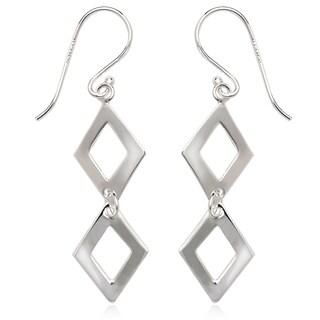 La Preciosa Sterling Silver Double Square Dangle Earrings