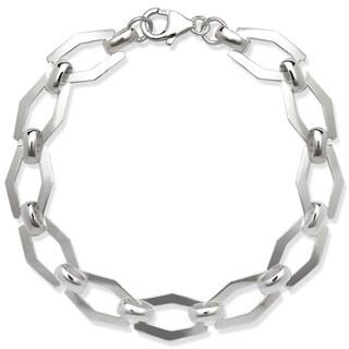 La Preciosa Sterling Silver Flat Geometric Link Bracelet