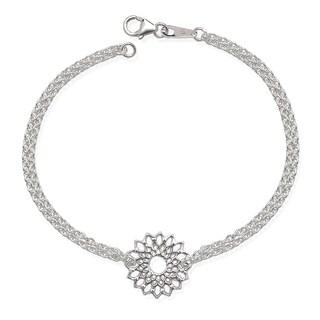 La Preciosa Sterling Silver Double-Strand Flower Bracelet