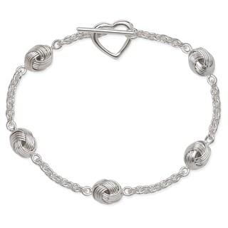 La Preciosa Sterling Silver Love Knot Link Heart Toggle Bracelet