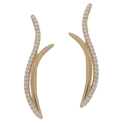 Kabella Sterling Silver Cubic Zirconia Ear Crawler Climber Earrings