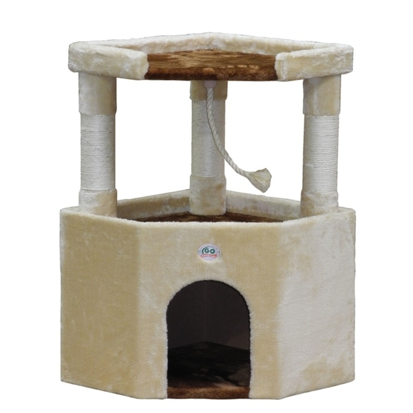 Etonnant Go Pet Club Tan Faux Fur Wood 32 Inch Cat Tree Condo Furniture