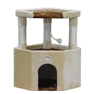 Go Pet Club Tan Faux Fur Wood 32-inch Cat Tree Condo Furniture