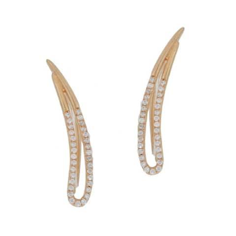 Kabella Sterling Silver Cubic Zirconia Ear Crawler Climbers