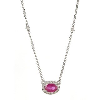 Anika and August 14k White Gold Oval-cut Ruby and 1/6ct TDW Diamond Necklace (G-H, I1-I2)