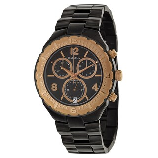 Balmain Men's 'Balmainia' Black Stainless Steel and Rose Gold PVD Coated Swiss Quartz Watch