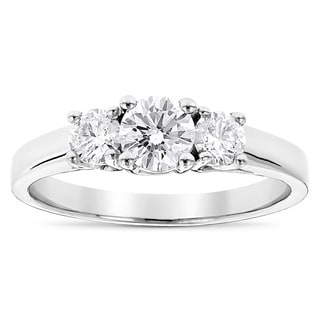 Luxurman Platinum 1ct TDW Diamond 3-stone Ultra-thin Engagement Ring (G-H, VS1-VS2)
