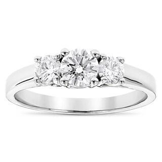 Luxurman Platinum 1ct TDW Diamond 3-stone Ultra-thin Engagement Ring
