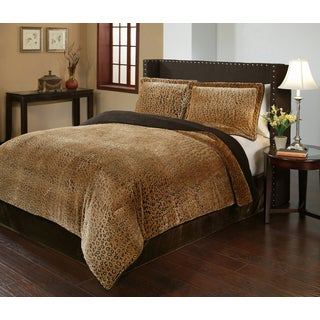 Cheetah Velvet Plush Print 3-piece Comforter Set