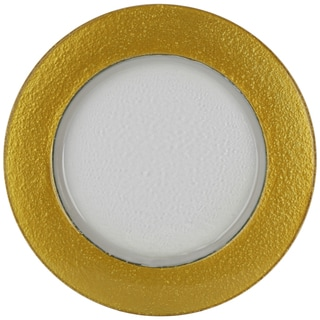10 Strawberry Street Halo Clear Glass Mayan Gold Rime Charger Plate