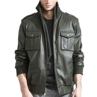 Men's Olive Lambskin Leather Bomber Jacket with Knit Trim