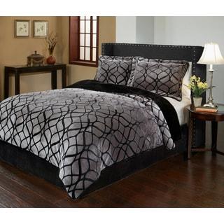 Matrix Velvet Plush Print 3-piece Comforter Set