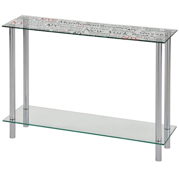 Soho Printed NYC Glass/ Chrome Console Table