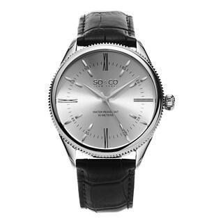 SO&CO New York Men's Madison Quartz Leather Strap Watch - Black