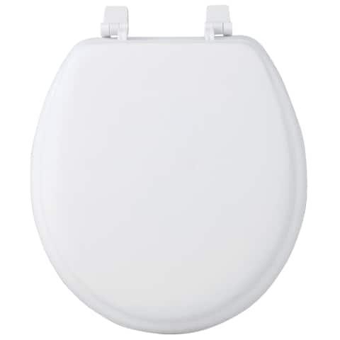 17-inch Round Soft Cushion White Toilet Seat