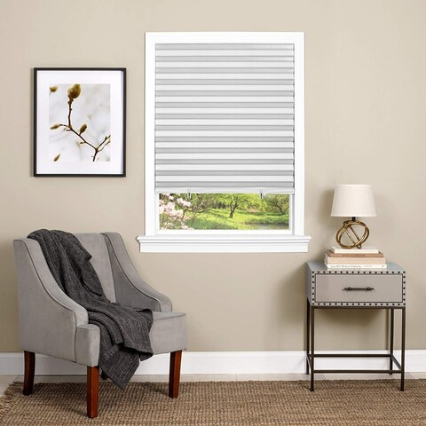 Easy Adjustable Peel and Stick Room Darkening Vinyl Adjustable From 18-inch to 36-inch Pleated Shade - 36 x 75