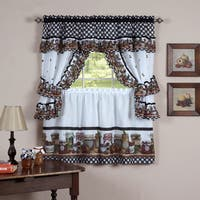 Complete Cottage Curtain Set with Homemade Country Jams and Jellies Print - 36 inch