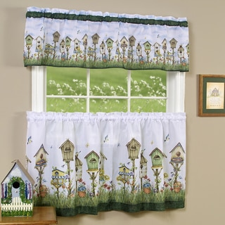 Traditional Two-piece Tailored Tier and Valance Window Curtains Set with Whimsical Birdhouse Print