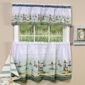Traditional Two-piece Tailored Tier and Valance Window Curtains Set with Detailed Lighthouse Print