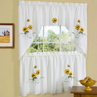 Traditional Two-piece Tailored Tier and Swag Window Curtains Set with Embroidered Yellow Sunflowers