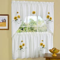 Traditional Two-piece Tailored Tier and Swag Window Curtains Set with Embroidered Yellow Sunflowers - 36 inch