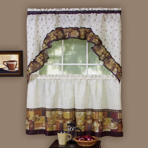 Traditional Two-piece Tailored Tier and Swag Window Curtains Set with Assorted Coffee Print