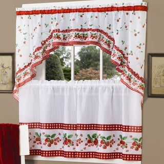 Traditional Two-piece Tailored Tier and Swag Window Curtains Set with Strawberry Print