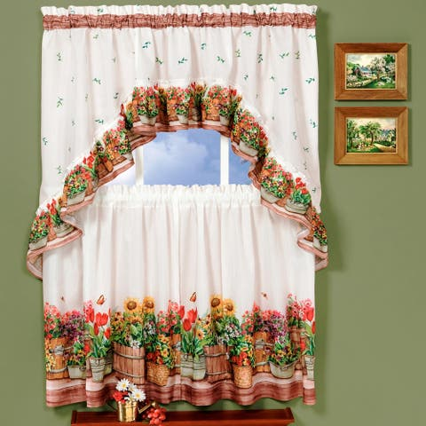 Traditional Two-piece Tailored Tier and Swag Window Curtains Set with Ornate Flower Garden Print - 36 inch