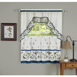 Traditional Bird Pattern Curtain Tier Set
