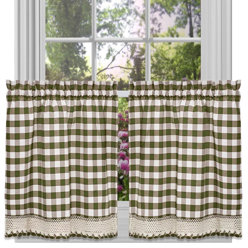 Shop Classic Buffalo Check Kitchen Sage/ White Curtain Set or Separates - 10329502
