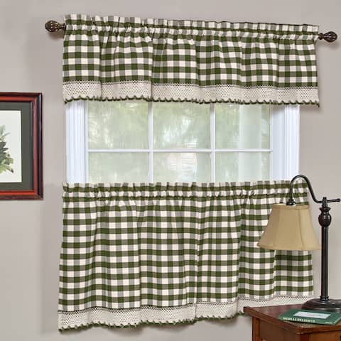 Classic Buffalo Check Kitchen Sage/ White Curtain Set or Separates