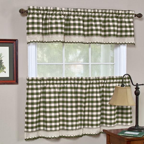 Sage Colored Curtains Kitchen: Shop Classic Buffalo Check Kitchen Sage/ White Curtain Set