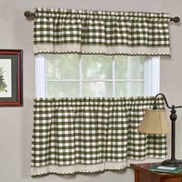 Classic Buffalo Check Kitchen Sage/ White Curtain Set or Separates