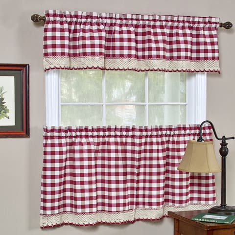 Classic Buffalo Check Kitchen Burgundy/White Curtain Set or Separates