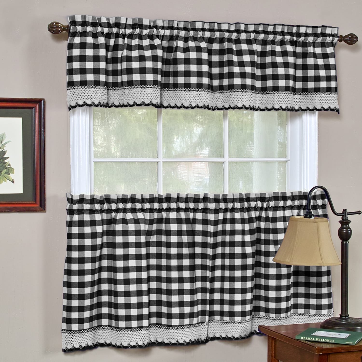 Classic Buffalo Check Kitchen Black And White Tiers Or Valance On Sale Overstock 10329506